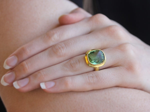 Elizabeth Locke Vertical Cushion Faceted Green Tourmaline ring with Flat Step Bezel and Thin Shank