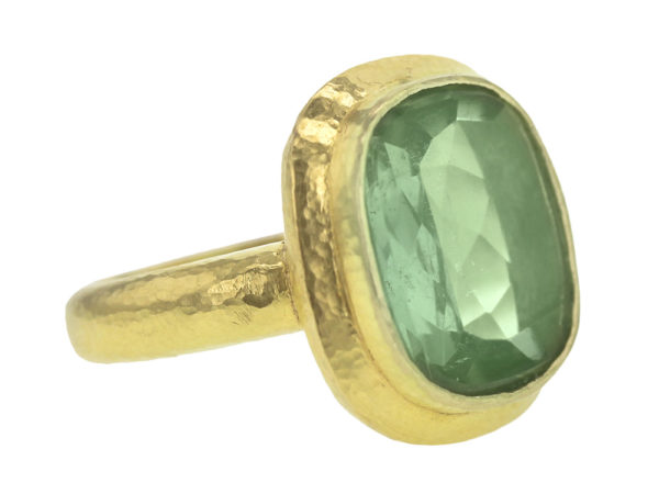 Elizabeth Locke Vertical Cushion Faceted Green Tourmaline ring with Flat Step Bezel and Thin Shank model shot #2