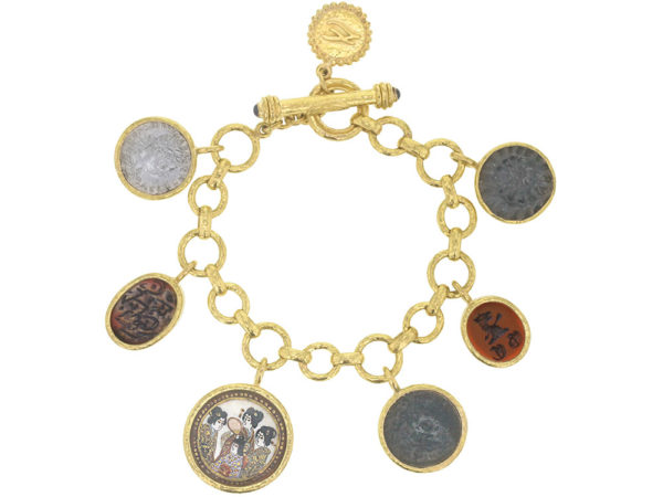 Elizabeth Locke Limited Edition Antique Charm Bracelet With a Selection of Antique Satsuma Button, Ancient Silver and Bronze Coins, 1 out of 10 made thumbnail