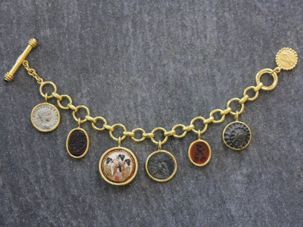 Elizabeth Locke Limited Edition Antique Charm Bracelet With a Selection of Antique Satsuma Button, Ancient Silver and Bronze Coins, 1 out of 10 made model shot #2