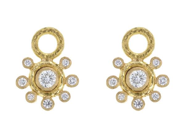 Elizabeth Locke Round Diamond Earring Charms with Diamond Halo for Hoops thumbnail