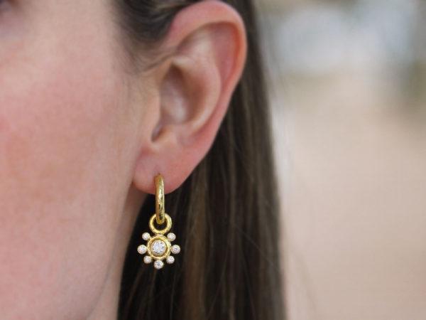 Elizabeth Locke Round Diamond Earring Charms with Diamond Halo for Hoops