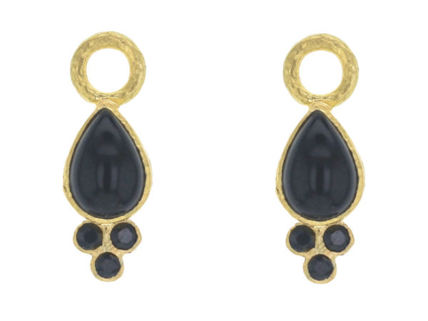 Elizabeth Locke Pear Shaped Cabochon Onyx and Faceted Black Spinel Triad Earring Charms For Hoops thumbnail