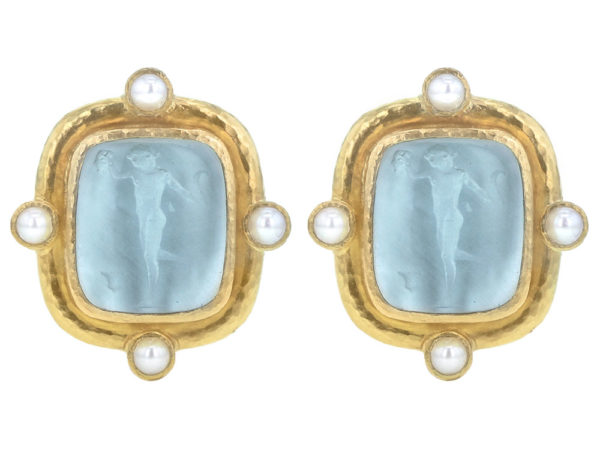 "Elizabeth Locke Light Aqua Venetian Glass Intaglio ""Greek Muse"" Earrings With Four Pearls Set On Godron Bezel thumbnail"