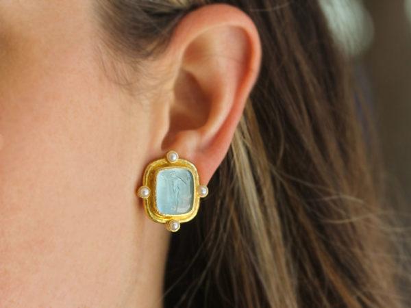 """Elizabeth Locke Light Aqua Venetian Glass Intaglio """"Greek Muse"""" Earrings With Four Pearls Set On Godron Bezel"""