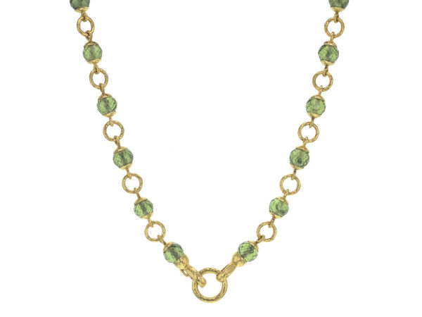 """Elizabeth Locke 17"""" Faceted Peridot Bead & Gold Link Necklace with Circle Clasp thumbnail"""