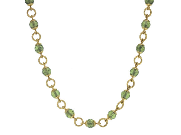 """Elizabeth Locke 17"""" Faceted Peridot Bead & Gold Link Necklace with Circle Clasp model shot #4"""