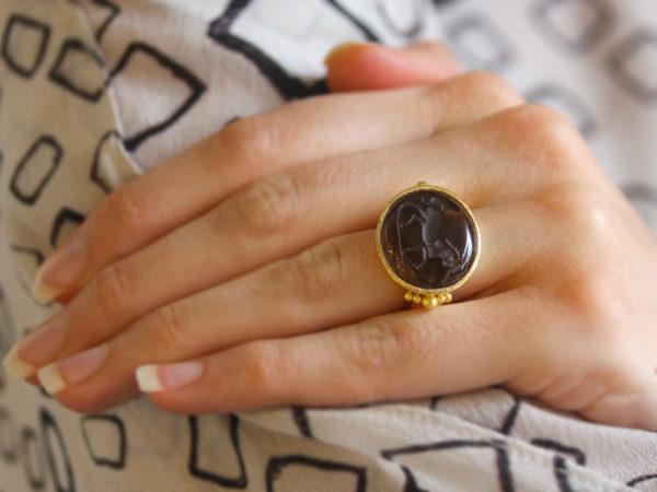 "Elizabeth Locke Smoky Quartz ""Roman Horse"" Ring With Astra Granulation at Shank"