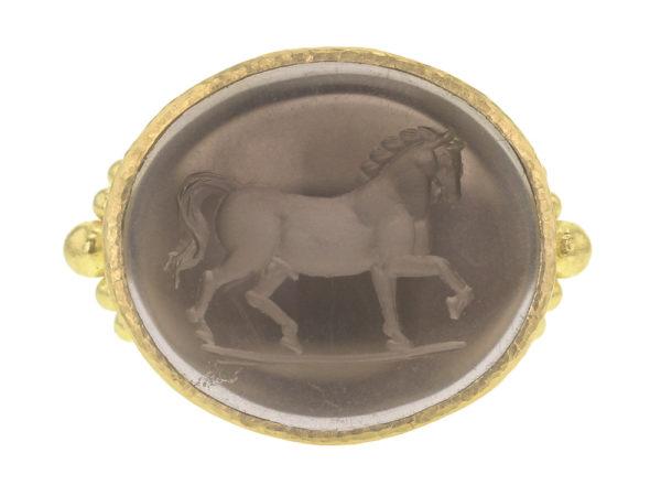 "Elizabeth Locke Smoky Quartz ""Roman Horse"" Ring With Astra Granulation at Shank thumbnail"
