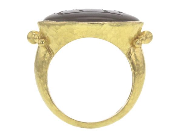 "Elizabeth Locke Smoky Quartz ""Roman Horse"" Ring With Astra Granulation at Shank model shot #2"