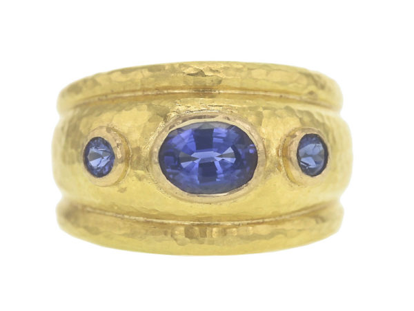 Elizabeth Locke Oval Blue Sapphire Cigar Band with Round Side Blue Sapphires thumbnail