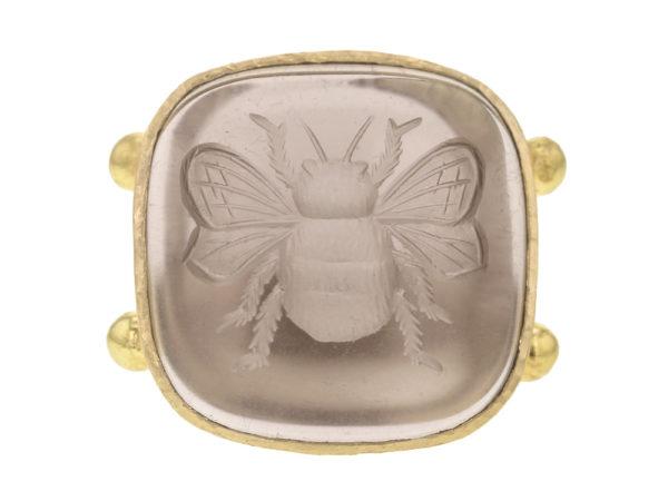 "Elizabeth Locke Smoky Quartz ""Bee"" Ring With Split Shank And Dots Of Granulation thumbnail"