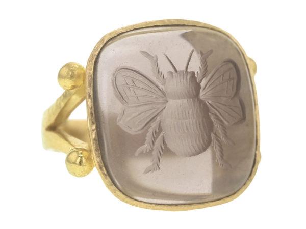 "Elizabeth Locke Smoky Quartz ""Bee"" Ring With Split Shank And Dots Of Granulation model shot #2"