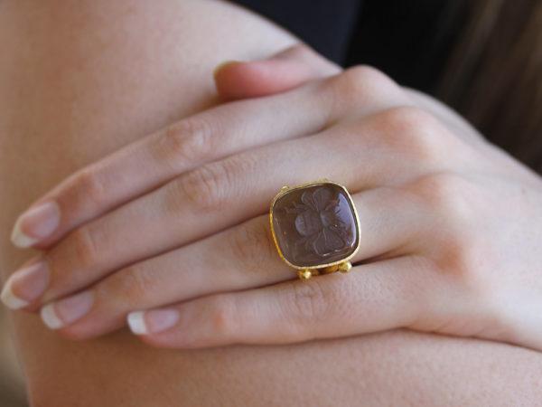 "Elizabeth Locke Smoky Quartz ""Bee"" Ring With Split Shank And Dots Of Granulation"