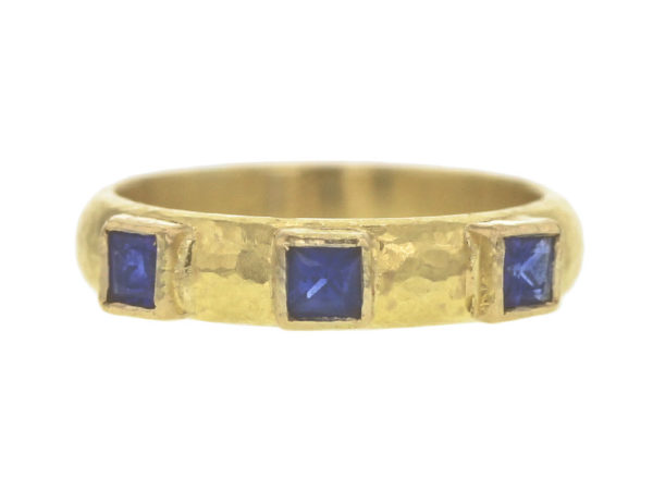 Elizabeth Locke Square Faceted Blue Sapphire Narrow Stack Ring thumbnail