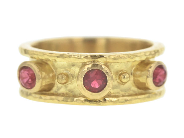 Elizabeth Locke Round Faceted Red Spinel Cigar Band With Two Side Oval Red Spinels and Gold Dots thumbnail