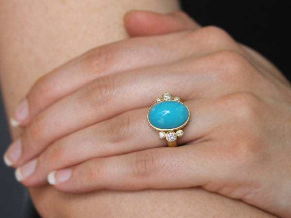 Elizabeth Locke Vertical Oval Turquoise Ring with Side Diamond Triads