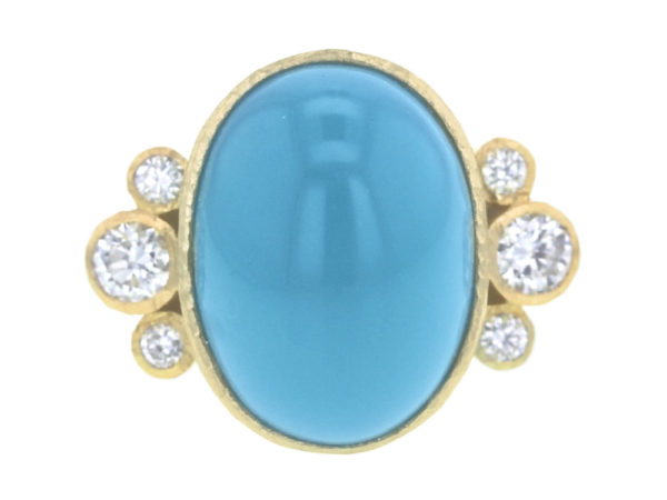 Elizabeth Locke Vertical Oval Turquoise Ring with Side Diamond Triads thumbnail