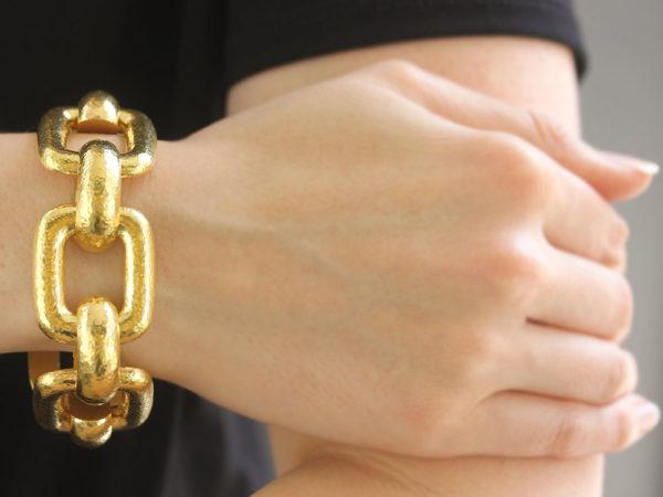 """Elizabeth Locke Large """"Livorno"""" Rectangular Link Bracelet"""