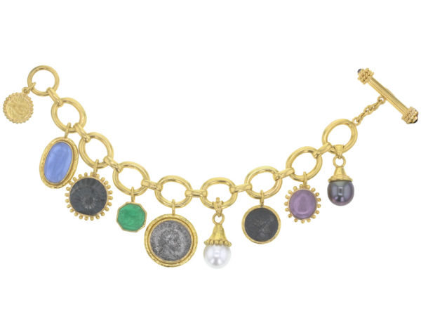 """Elizabeth Locke """"Smooth"""" Link Chain Charm Bracelet With a Selection of Venetian Glass Intaglios, White & Black South Sea Pearls, Ancient Silver and Bronze Coins thumbnail"""
