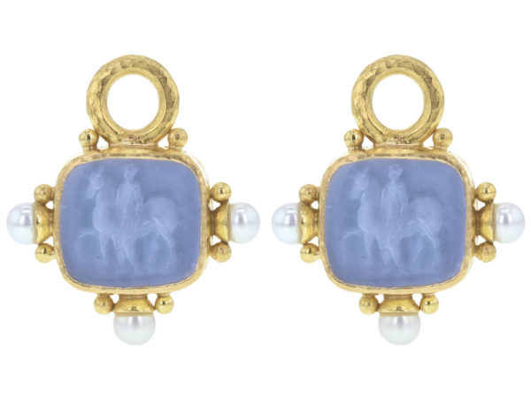 "Elizabeth Locke Cerulean Venetian Glass Intaglio ""God with Horse"" Earring Charms For Hoops with Pearl and Side Gold Dots thumbnail"