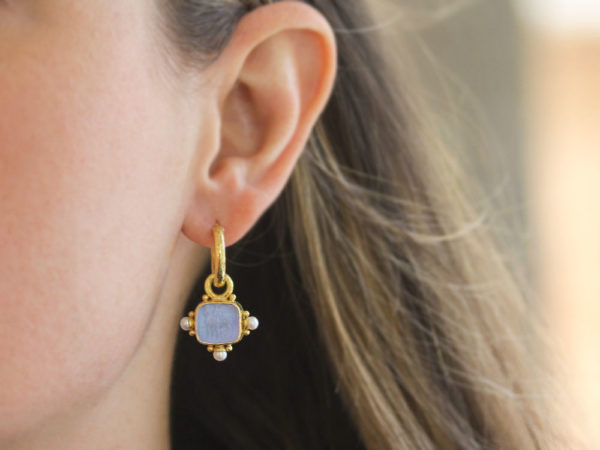 "Elizabeth Locke Cerulean Venetian Glass Intaglio ""God with Horse"" Earring Charms For Hoops with Pearl and Side Gold Dots"