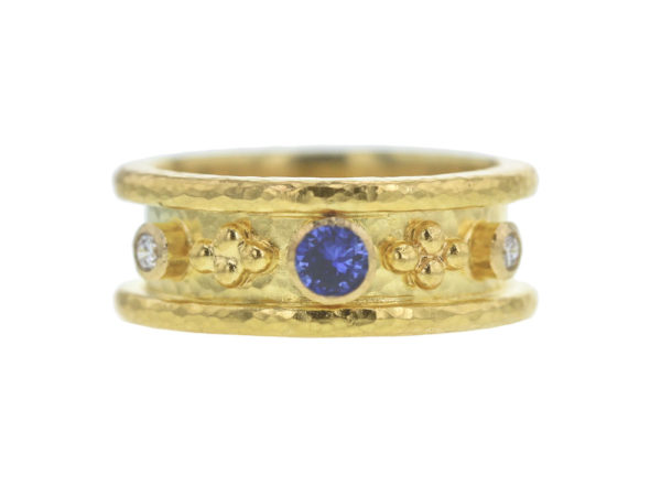 Elizabeth Locke Narrow Straight Blue Sapphire and Diamond Cigar Band thumbnail