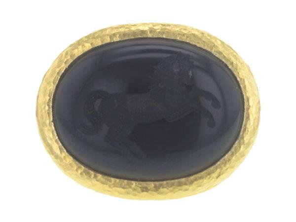 "Elizabeth Locke Horizontal Oval Onyx ""Rearing Horse"" Ring with Granulated Collar thumbnail"