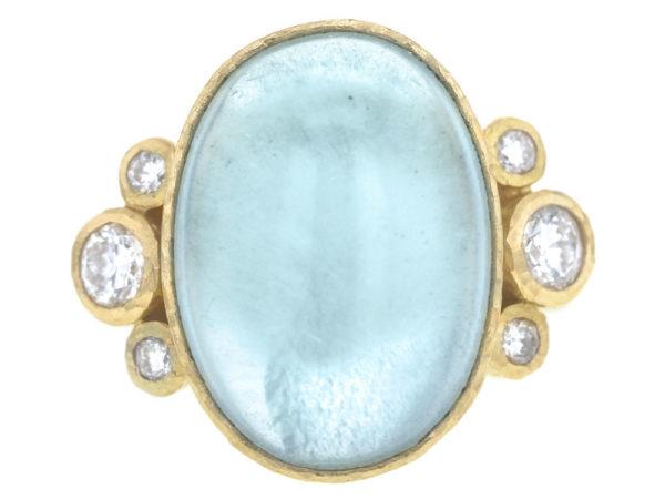 Elizabeth Locke Vertical Oval Cabochon Aquamarine Ring with Side Diamonds thumbnail