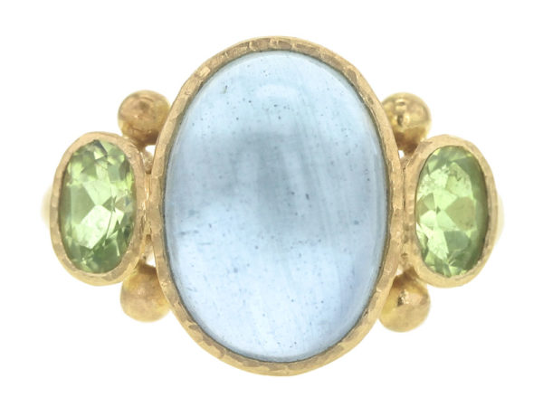 Elizabeth Locke Vertical Oval Cabochon Aquamarine Ring with Oval Side Faceted Chrysoberyl thumbnail