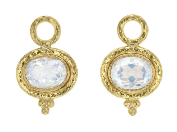 Elizabeth Locke Horizontal Oval Faceted Moonstone With Gold Dot Triad Earring Charms For Hoops thumbnail