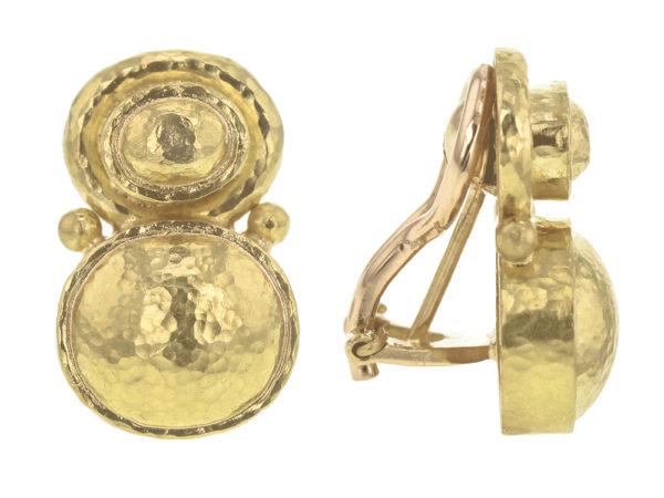 Elizabeth Locke Stacked Horizontal Oval Domed Earrings with Side Gold Dots model shot #2