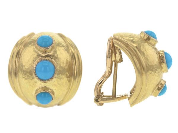 Elizabeth Locke Small Sleeping Beauty Turquoise Puff Earrings model shot #2