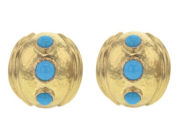 Elizabeth Locke Small Sleeping Beauty Turquoise Puff Earrings thumbnail