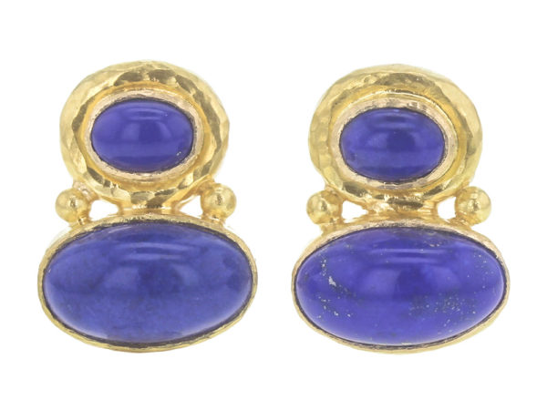 Elizabeth Locke Stacked Horizontal Oval Lapis Earrings with Side Gold Dots thumbnail