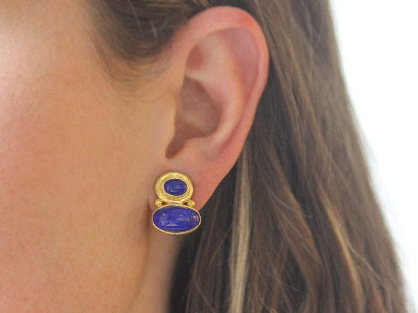 Elizabeth Locke Stacked Horizontal Oval Lapis Earrings with Side Gold Dots