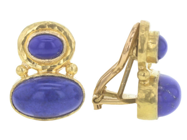 Elizabeth Locke Stacked Horizontal Oval Lapis Earrings with Side Gold Dots model shot #2