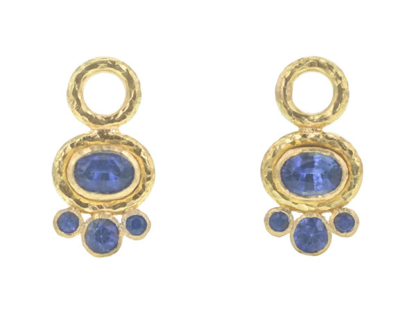 Elizabeth Locke Horizontal Oval Faceted Blue Sapphire Earring Charms with Bottom Round Faceted Blue Sapphires thumbnail