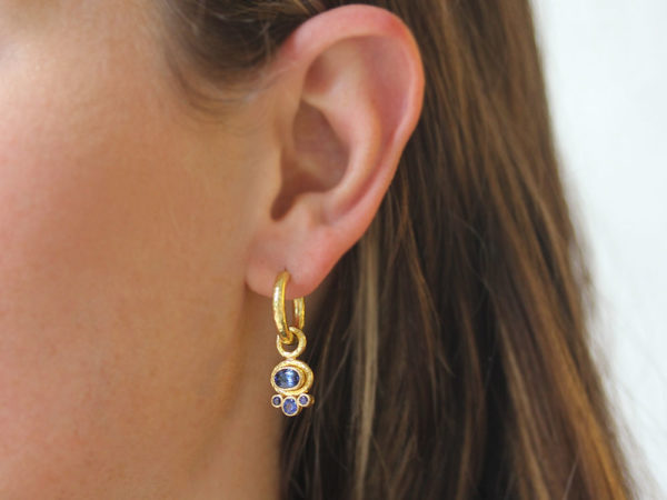 Elizabeth Locke Horizontal Oval Faceted Blue Sapphire Earring Charms with Bottom Round Faceted Blue Sapphires