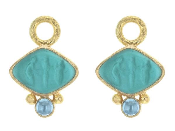 "Elizabeth Locke Teal Venetian Glass Intaglio ""Rombo"" Earring Charms for Hoops with Cabochon Blue Zircon thumbnail"