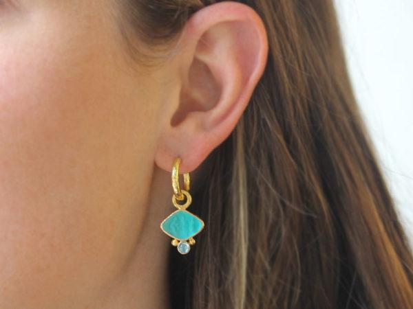 "Elizabeth Locke Teal Venetian Glass Intaglio ""Rombo"" Earring Charms for Hoops with Cabochon Blue Zircon"