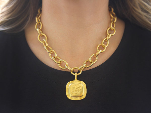 "Elizabeth Locke Gold ""Griffin & Palm"" Livery Button Pendant with Step Bezel"