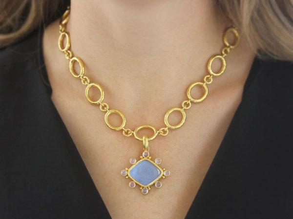 "Elizabeth Locke Cerulean Venetian Glass Intaglio ""Rombo God and Deer"" Pendant With Cabochon Moonstones"