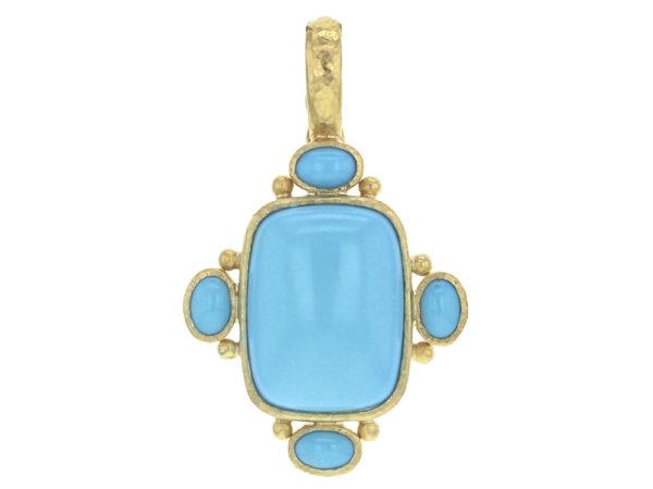 Elizabeth Locke Vertical Cushion Sleeping Beauty Turquoise Pendant With Oval Turquoise On Bezel thumbnail