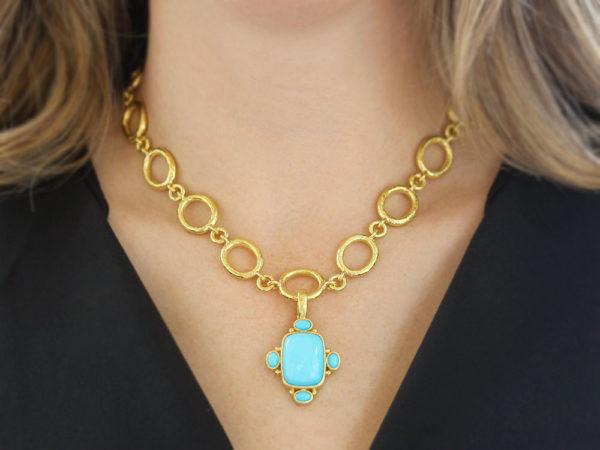 Elizabeth Locke Vertical Cushion Sleeping Beauty Turquoise Pendant With Oval Turquoise On Bezel