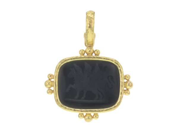 """Elizabeth Locke Cushion Onyx Seal """"Two Griffins"""" Pendant with Thin Clip Bale and Gold Dots thumbnail"""