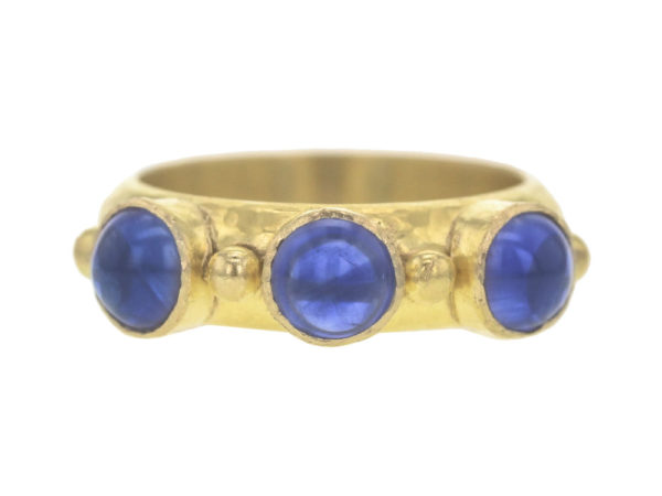 Elizabeth Locke Round Cabochon Blue Sapphire Stack Ring with Gold Dots thumbnail