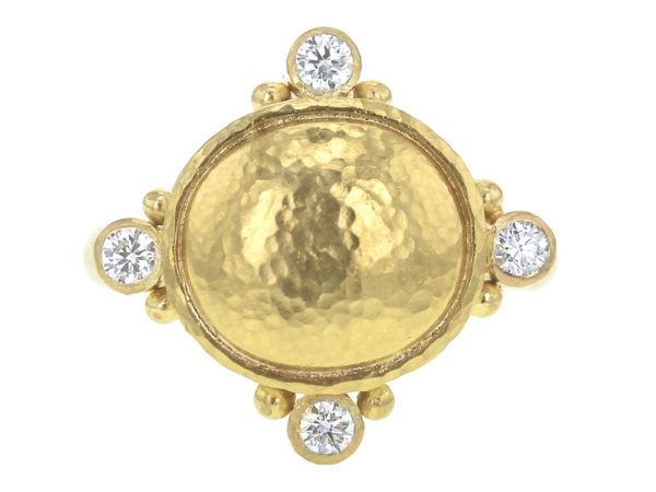 Elizabeth Locke Horizontal Gold Dome Ring with Diamonds and Gold Dots in Thin Shank thumbnail