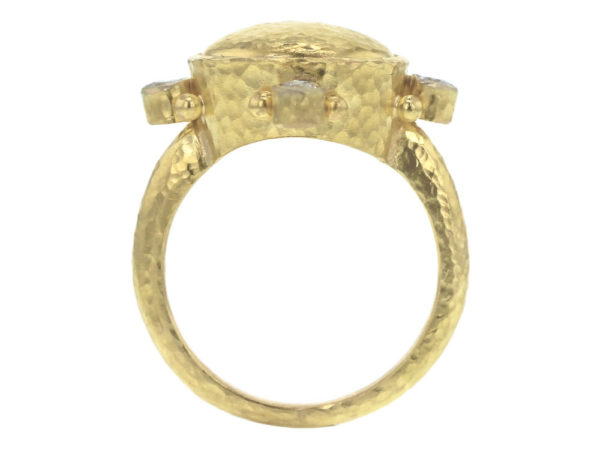 Elizabeth Locke Horizontal Gold Dome Ring with Diamonds and Gold Dots in Thin Shank model shot #2