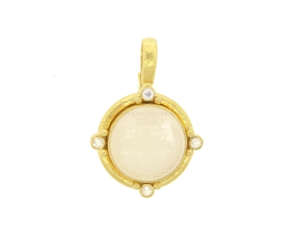 Locke rock crystal queen bee with four moonstone gold dots elizabeth locke rock crystal queen bee with four moonstone gold dots with narrow clip bale pendant mozeypictures Image collections
